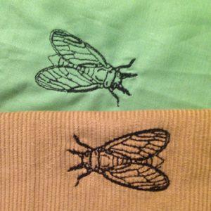 KathieKreativnäht PopUp Taschen von Farbenmix mit eigenem Stickmuster: Zikade