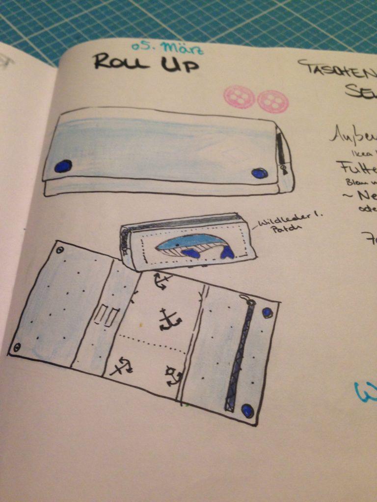 Näh Bullet Journal - RollUp Tasche - KathieKreativ mit Wal Stickmuster - Näh BuJo