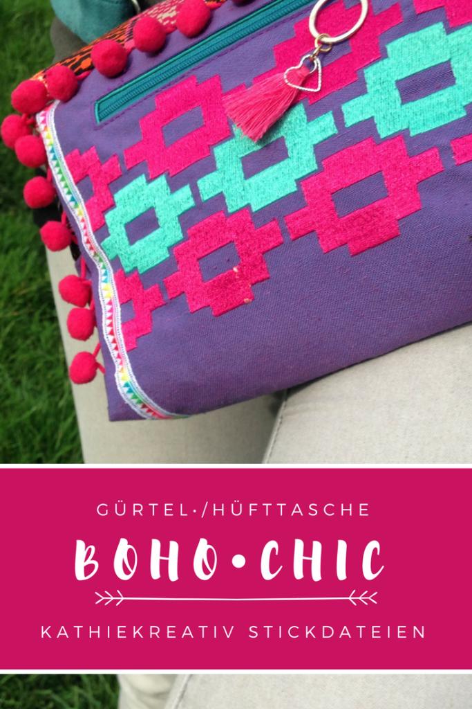 Stickdatei: IKAT1 auf Festival Hüfttasche - Nähen für Anfänger - Boho Chic im Hippiestyle