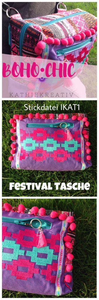 KathieKreativ_BohoChictasche Hüpftasche mit eigener Stickdatei IKAT 1