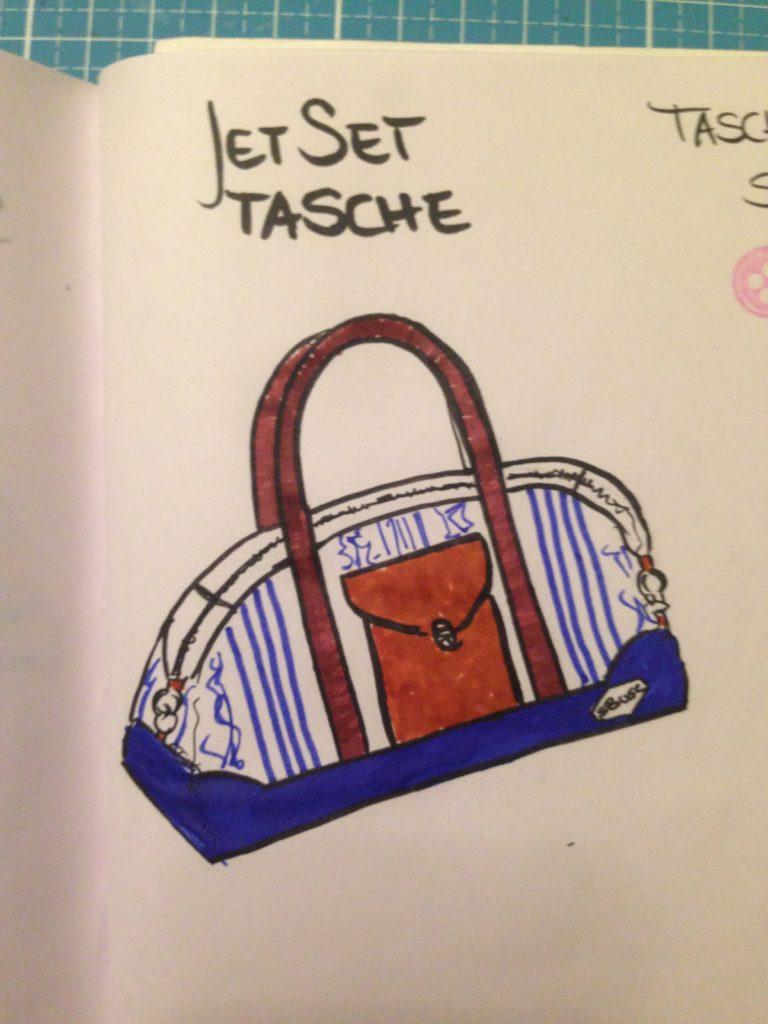 Näh Bullet Journal - Reisetasche nähen - diesmal näht KathieKreativ eine kleine Reise für den Mann - mit selbstentworfenem Logo und schicker Aufsatztasche