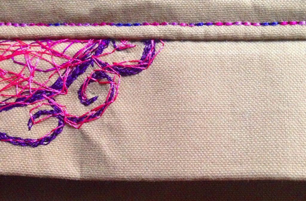 Freihandsticken/ Nähmalen auf der Yellobag aus Outdoorstoff • wasserabweisend • nähen und sticken • KathieKreativ