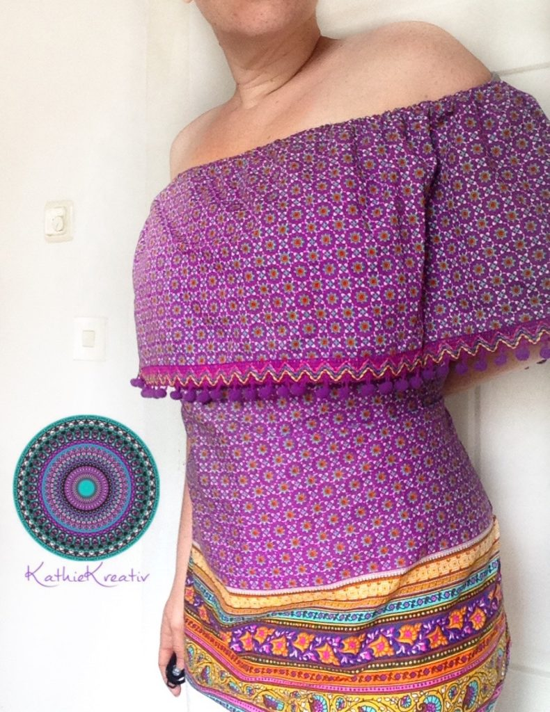 Off-Shoulder Shirt ohne Schnittmuster nähen - by KathieKreativ - Boho / Hippie Style mit Bommelborte