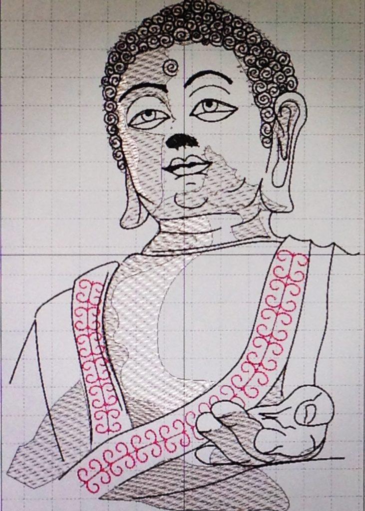 Mandala Buddha Meditationskissen nähen und sticken mit KathieKreativ Stickdatei