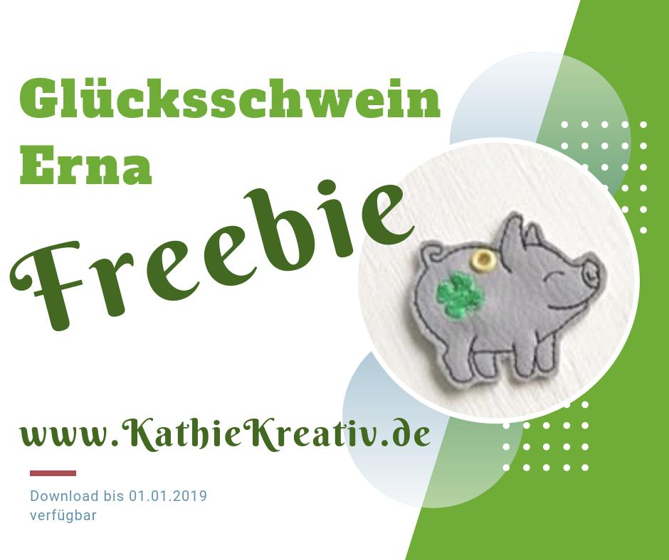Freebie Glücksschwein Erna ITH Stickdatei von KathieKreativ