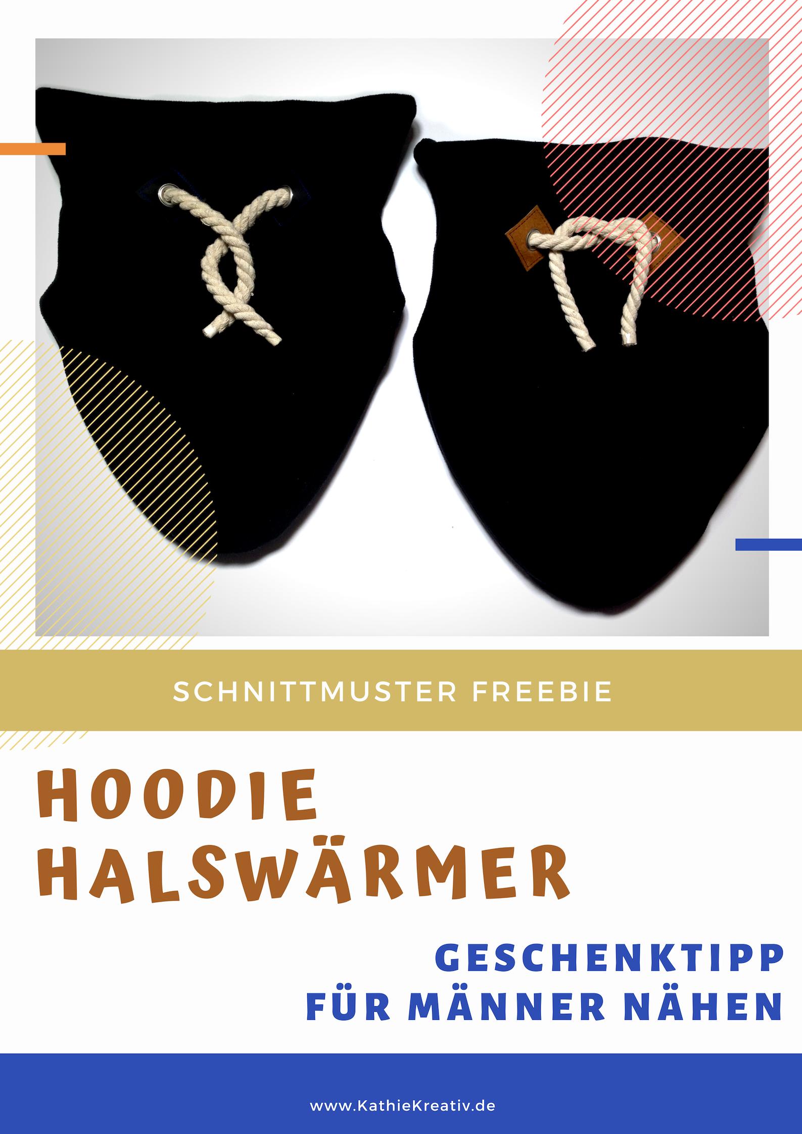 Hoodie•Halswärmer nähen für Männer mit KathieKreativ • #Freebie #Schnittmuster • Geschenk #nähen
