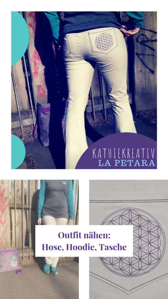 KathieKreativ näht Hose La Petara • Blume des Lebens Stickdatei • #nähen und #sticken