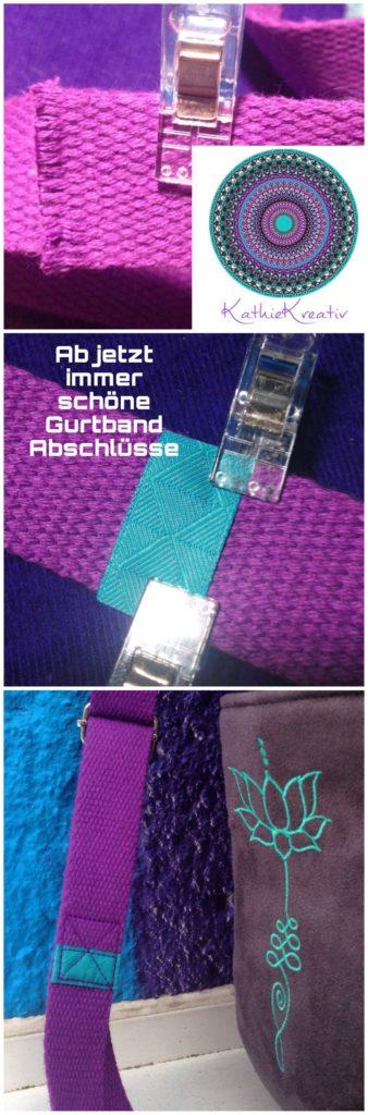 Webbandliebe - Ab sofort schöne Baumwoll Gurtband Abschlüsse - Rucksack Eluene nähen mit #KathieKreativ #Stickdatei
