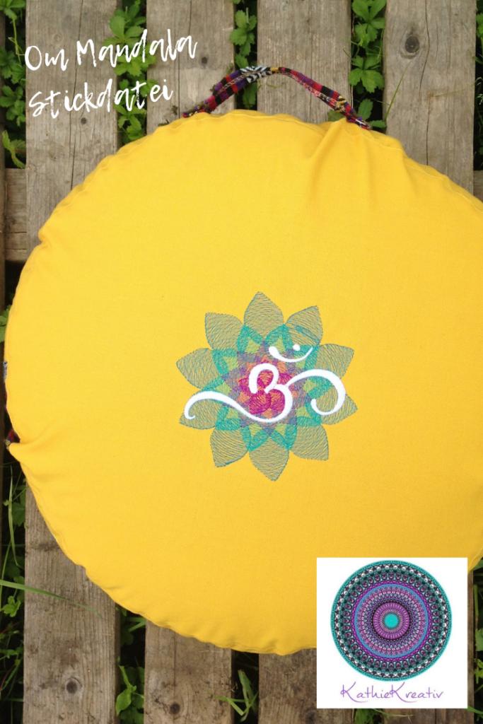 Meditationskissen To Go Kapok Füllung Om Mandala Stickdatei KathieKreativ