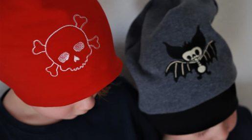 KathieKreativ Totenkopf und Fledermaus Stickdatei Mütze