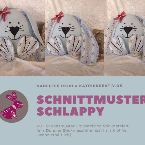 Hase Schlappy Schnittmuster + Stickdateien